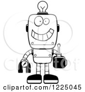 Clipart Of An Outlined Happy Metal Robot With A Light Bulb Brain Holding A Screwdriver Royalty Free Vector Illustration