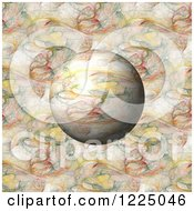 Clipart Of A 3d Colorful Fractal Sphere Over The Same Pattern Royalty Free Illustration by oboy
