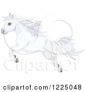 Clipart Of A Cute White Pony Horse Leaping Royalty Free Vector Illustration
