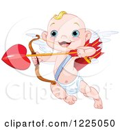 Clipart Of A Cute Baby Cupid Aiming Loves Arrow Royalty Free Vector Illustration