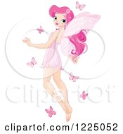 Clipart Of A Pretty Pink Fairy Flying With Butterflies Royalty Free Vector Illustration