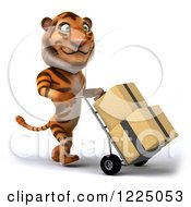 Clipart Of A 3d Tiger Mascot Moving Boxes On A Dolly 3 Royalty Free Vector Illustration