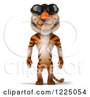 Clipart Of A 3d Tiger Mascot Wearing Sunglasses Royalty Free Vector Illustration