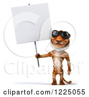 Clipart Of A 3d Tiger Mascot Wearing Sunglasses And Holding Up A Sign Royalty Free Vector Illustration