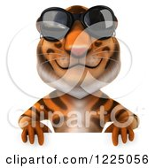 Clipart Of A 3d Tiger Mascot Wearing Sunglasses Over A Sign Royalty Free Vector Illustration
