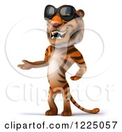 Clipart Of A 3d Tiger Mascot Wearing Sunglasses And Presenting Royalty Free Vector Illustration