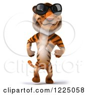 Clipart Of A 3d Tiger Mascot Wearing Sunglasses And Walking Royalty Free Vector Illustration