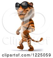 Clipart Of A 3d Tiger Mascot Wearing Sunglasses And Walking 2 Royalty Free Vector Illustration