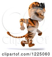 Clipart Of A 3d Tiger Mascot Wearing Sunglasses And Running Royalty Free Vector Illustration