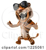 Clipart Of A 3d Roaring Tiger Mascot Wearing Sunglasses And Running Royalty Free Vector Illustration