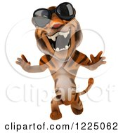 Clipart Of A 3d Roaring Tiger Mascot Wearing Sunglasses And Running 2 Royalty Free Vector Illustration