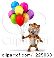 Clipart Of A 3d Roaring Tiger Mascot Holding Colorful Party Balloons Royalty Free Vector Illustration