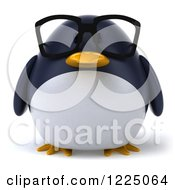 Clipart Of A 3d Bespectacled Penguin Royalty Free Vector Illustration