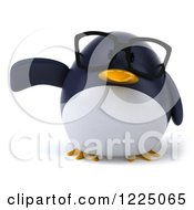 Clipart Of A 3d Bespectacled Penguin Presenting Royalty Free Vector Illustration