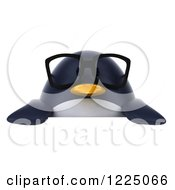 Clipart Of A 3d Bespectacled Penguin Over A Sign Royalty Free Vector Illustration