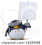 Clipart Of A 3d Bespectacled Penguin Holding Up A Sign Royalty Free Vector Illustration