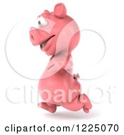 Clipart Of A 3d Pink Pig Running 3 Royalty Free Vector Illustration