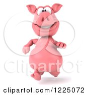Clipart Of A 3d Pink Pig Running Royalty Free Vector Illustration