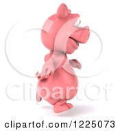 Clipart Of A 3d Pink Pig Running 2 Royalty Free Vector Illustration