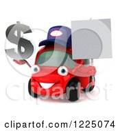 Clipart Of A 3d Red Porsche Car Wearing A Hat And And Holding A Dollar Symbol And Sign Royalty Free Vector Illustration
