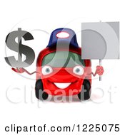 Clipart Of A 3d Red Porsche Car Wearing A Hat And And Holding A Dollar Symbol And Sign 2 Royalty Free Vector Illustration