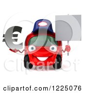 Clipart Of A 3d Red Porsche Car Wearing A Hat And And Holding A Euro Symbol And Sign Royalty Free Vector Illustration
