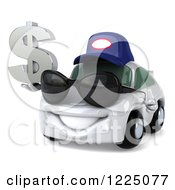 Clipart Of A 3d White Porsche Car Wearing A Hat And Sunglasses And Holding A Dollar Symbol Royalty Free Vector Illustration