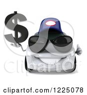 Clipart Of A 3d White Porsche Car Wearing A Hat And Sunglasses And Holding A Dollar Symbol 2 Royalty Free Vector Illustration