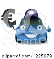 Clipart Of A 3d Blue Porsche Car Wearing A Hat And And Holding A Euro Symbol Royalty Free Vector Illustration by Julos