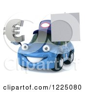Clipart Of A 3d Blue Porsche Car Wearing A Hat And And Holding A Euro Symbol And Sign Royalty Free Vector Illustration by Julos