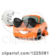Clipart Of A 3d Orange Porsche Car Wearing Sunglasses And And Holding A Euro Symbol Royalty Free Vector Illustration