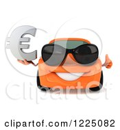 Clipart Of A 3d Orange Porsche Car Wearing Sunglasses And And Holding A Euro Symbol 2 Royalty Free Vector Illustration