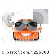 Clipart Of A 3d Orange Porsche Car Wearing Sunglasses And And Holding A Euro Symbol And Sign Royalty Free Vector Illustration