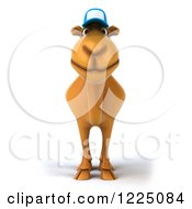 Clipart Of A 3d Camel Mascot Wearing A Baseball Cap And Facing Front Royalty Free Vector Illustration