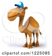 Clipart Of A 3d Camel Mascot Wearing A Baseball Cap And Facing Left Royalty Free Vector Illustration