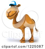 Clipart Of A 3d Camel Mascot Wearing A Baseball Cap And Facing Left 3 Royalty Free Vector Illustration