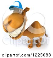 Clipart Of A 3d Camel Mascot Wearing A Baseball Cap Looking Up And Smiling Royalty Free Vector Illustration