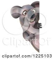Clipart Of A 3d Koala Mascot Smiling And Pointing To A Sign Royalty Free Vector Illustration