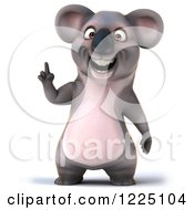 Clipart Of A 3d Koala Mascot Smiling And Pointing Up Royalty Free Vector Illustration