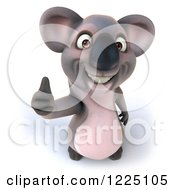 Clipart Of A 3d Happy Koala Mascot Holding A Thumb Up Royalty Free Vector Illustration