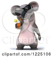 Clipart Of A 3d Koala Mascot Wearing Sunglasses And Drinking Iced Tea Royalty Free Vector Illustration