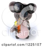 Clipart Of A 3d Koala Mascot Wearing Sunglasses And Drinking Iced Tea 2 Royalty Free Vector Illustration