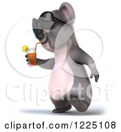 Clipart Of A 3d Koala Mascot Wearing Sunglasses And Drinking Iced Tea 3 Royalty Free Vector Illustration