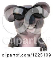 Clipart Of A 3d Koala Mascot Wearing Sunglasses And Holding At Humb Up Over A Sign Royalty Free Vector Illustration