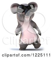 Clipart Of A 3d Koala Mascot Wearing Sunglasses And Walking Royalty Free Vector Illustration