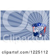 Clipart Of A Retro American Fireman And Hose Background Or Business Card Design Royalty Free Illustration