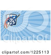 Clipart Of A Retro American Patriot Soldier With A Flag Background Or Business Card Design Royalty Free Illustration