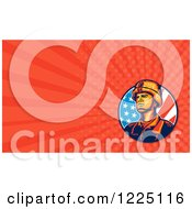 Retro American Soldier And Flag Background Or Business Card Design