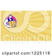 Clipart Of A Retro Bartender Carrying A Beer Keg Background Or Business Card Design Royalty Free Illustration