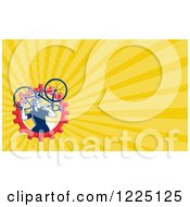 Clipart Of A Retro Cyclist Carrying A Bike Background Or Business Card Design Royalty Free Illustration
